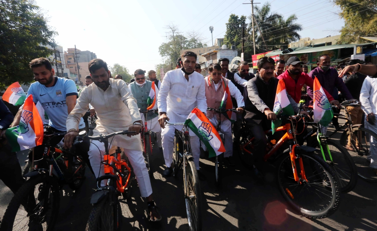 Congressmen take out a cycle rally in Bhopal in protest against the petrol price hike on the first day of the Budget session on Monday.