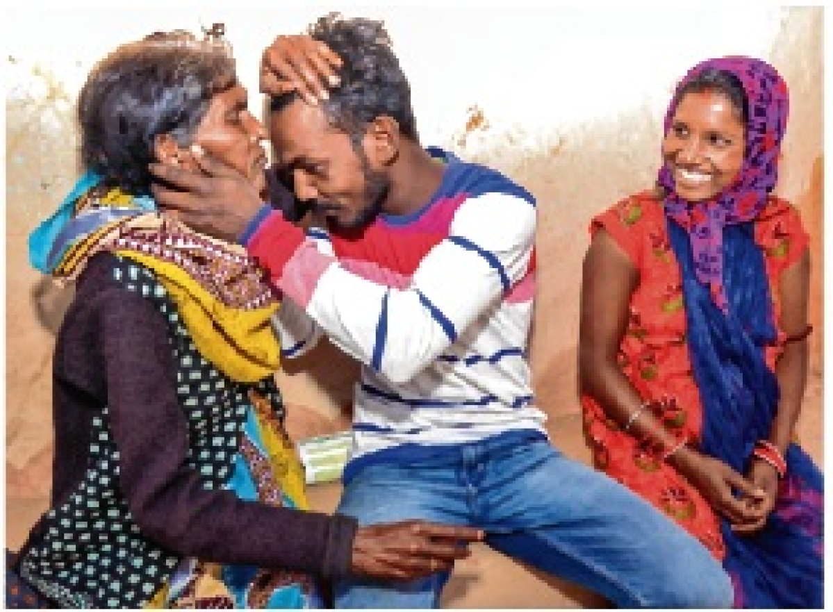 Ankit Kumar Singh greets mother at his home in Baruhatu village in Latehar of Jharkhand. Ankit and 3 others safely returned home.
