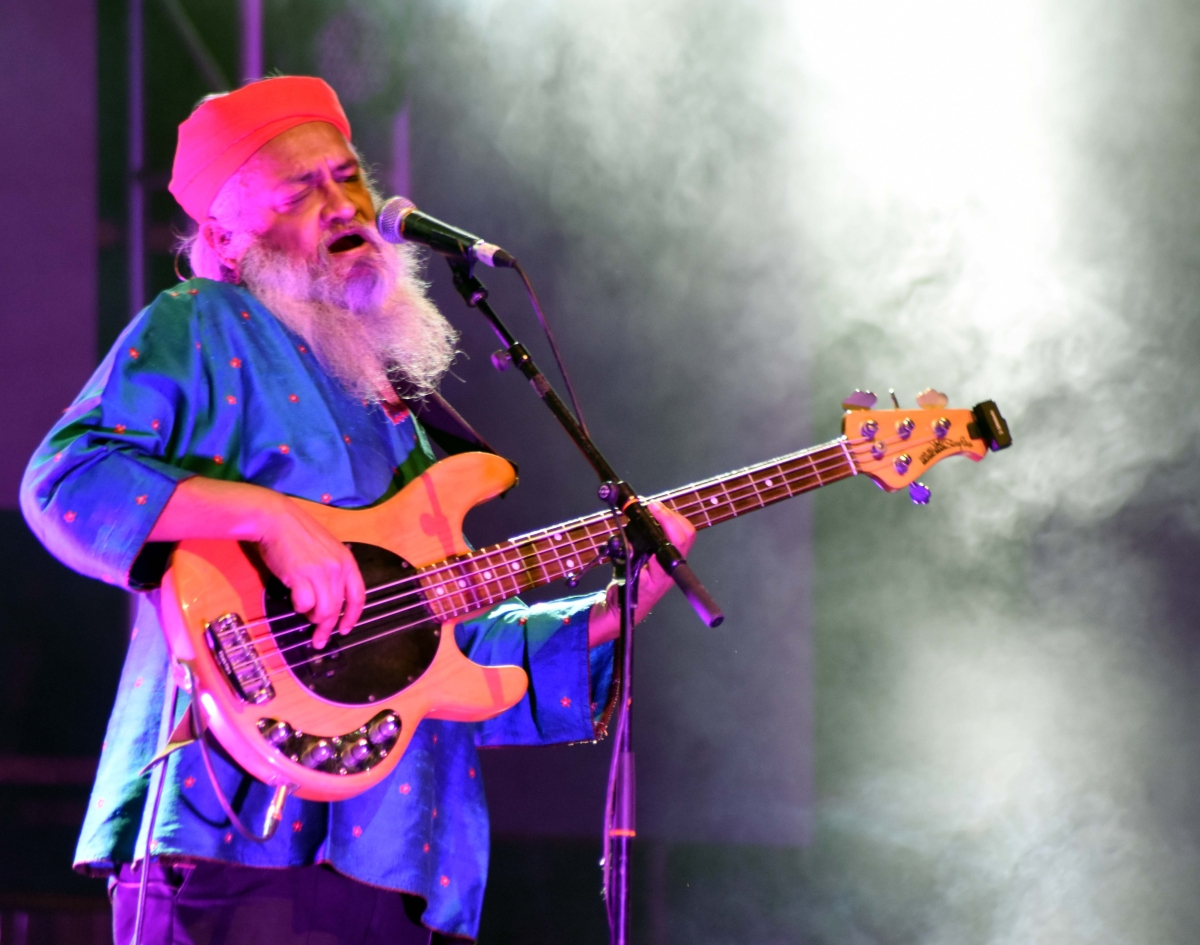 Rahul Ram from Indian Ocean performs on inaugural day of two-day GIFLIF Drive-in Music Fest at Drive-in Cinema on premises of Hotel Lake View Residency at Shyamla Hills in Bhopal on Saturday