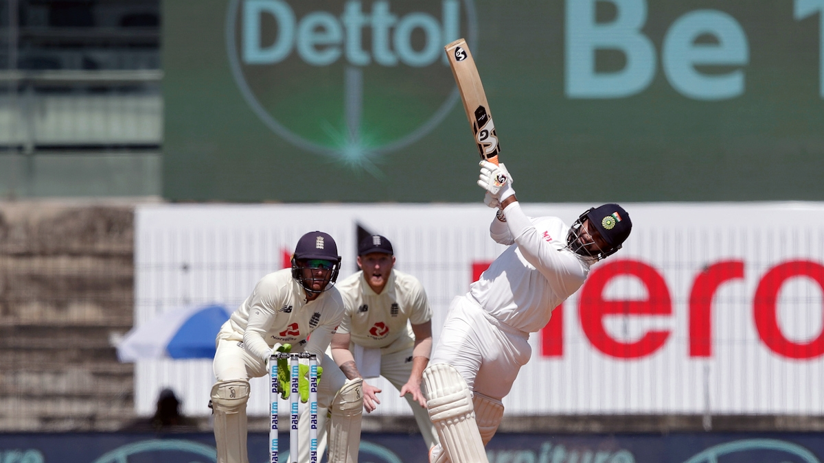 Rishabh Pant during his innings of 91 against England in Chennai on Sunday