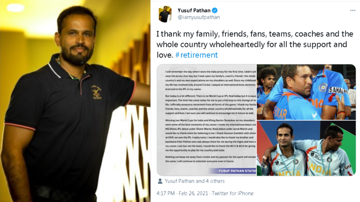 Twitter bids farewell to cricketer Yusuf Pathan with a heavy heart
