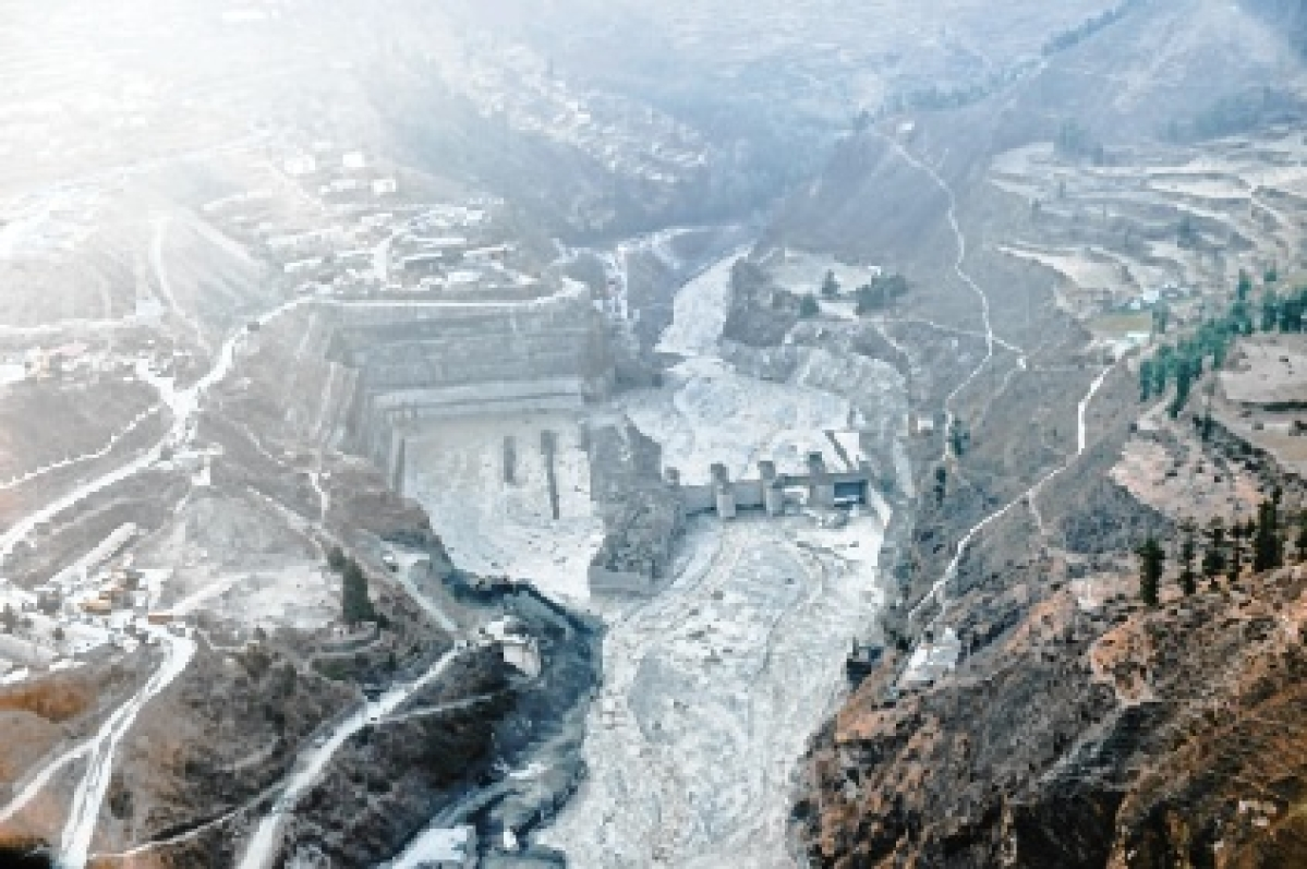 An aerial view of washed away Tapovan hydel power project plant in Chamoli district of Uttarakhand on Friday.