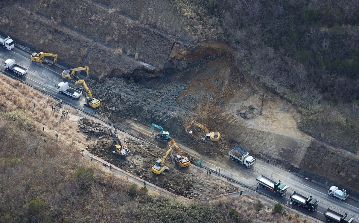 The landslide site on the Joban Expressway in Soma, Fukushima prefecture on February 14, 2021 after a 7.3-magnitude earthquake struck off Japan's east coast late on February 13.