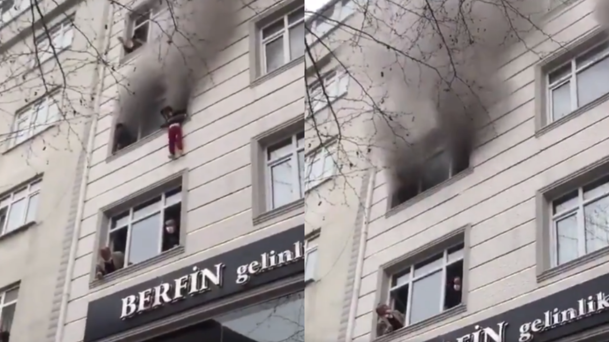 Watch: Mother throws kids off the balcony to save them from flames; incident captured in a video