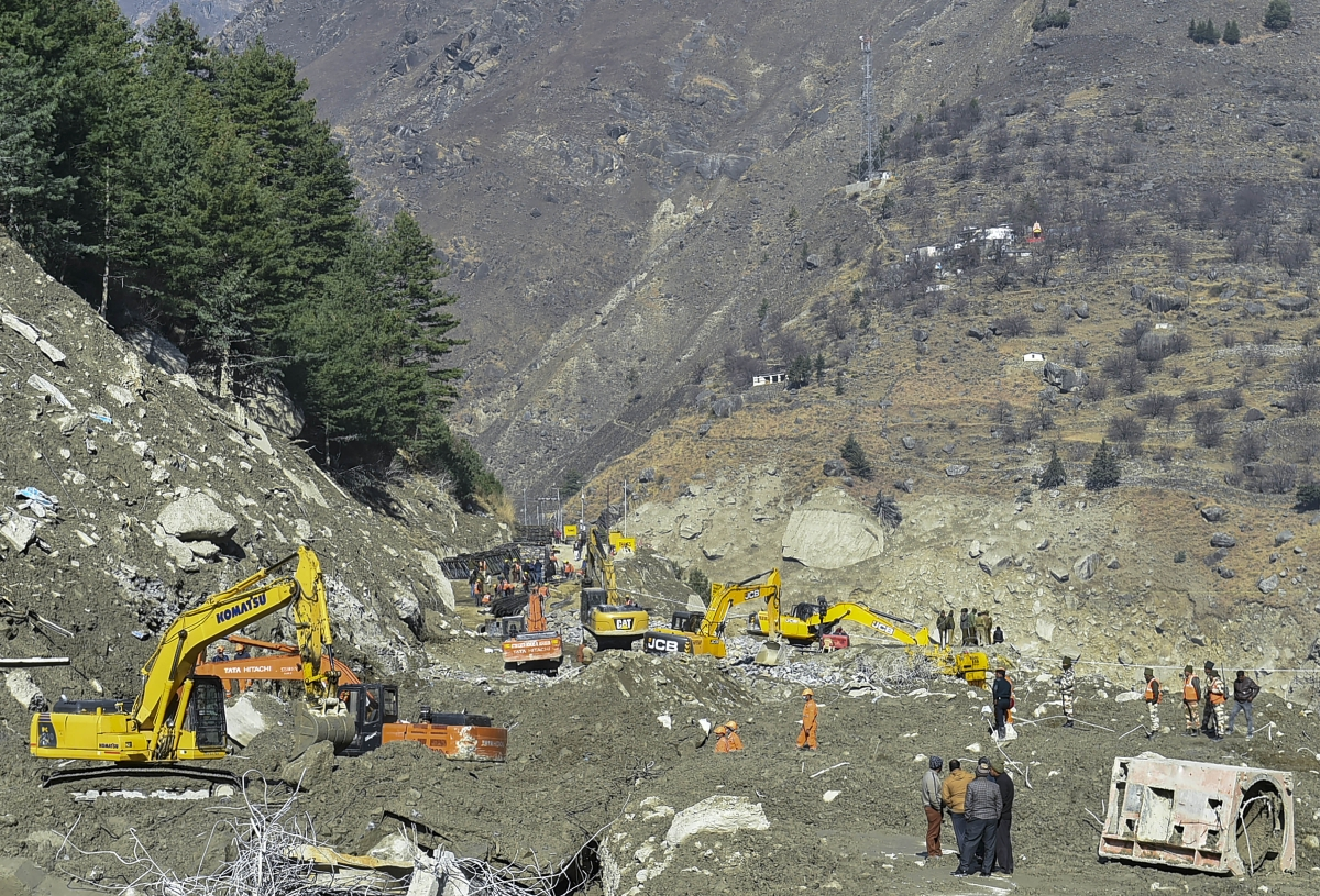 Chamoli: ITBP personnel carry out rescue and restoration work at Raini village, a week after glacier burst on Feb. 7 in Joshimath triggered a flash flood, in Chamoli district of Uttarakhand, Sunday, Feb. 14, 2021.