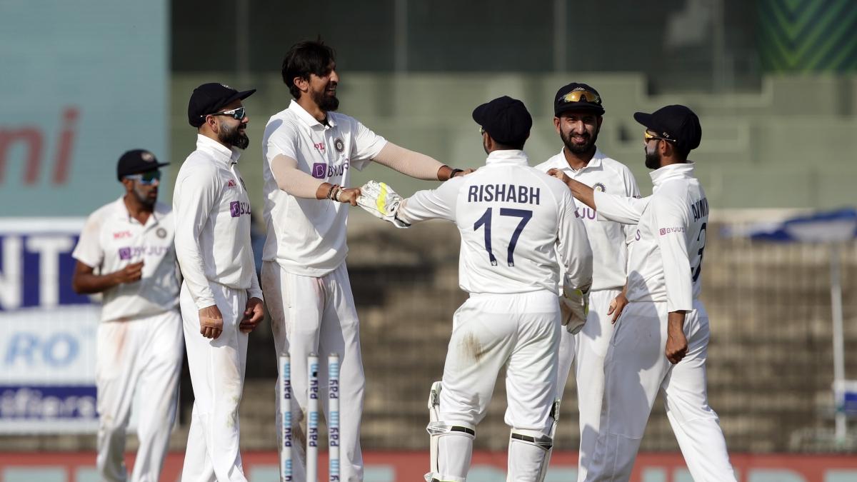 Ishant Sharma celebrates after taking a wicket at MA Chidambaram Stadium in Chennai
