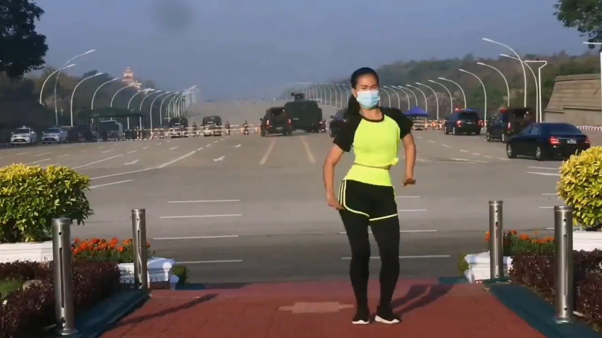 Myanmar: Aerobics instructor filming workout routine  goes viral as coup unfolds behind her; watch video