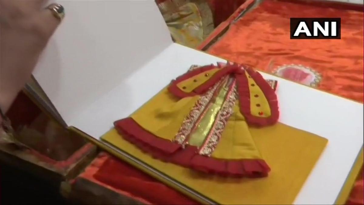 Uttar Pradesh: Ram Lalla at Ayodhya garbed in khadi silk angvastram gifted by fashion designer Manish Tripathi