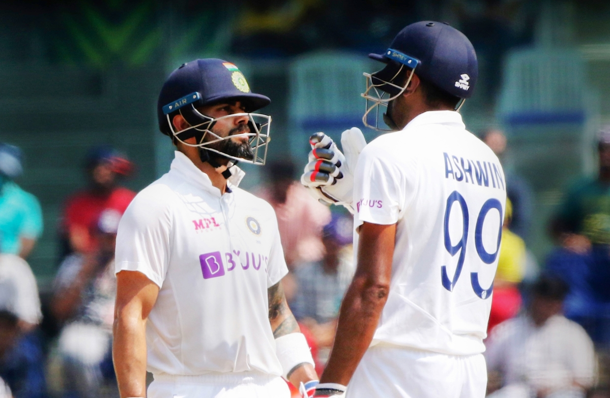 Indian Captain Virat Kohli and Ravichandran Ashwin during the 3rd day of second cricket test match between India and England, at M.A. Chidambaram Stadium ,in Chennai, Monday, Feb. 15, 2021.