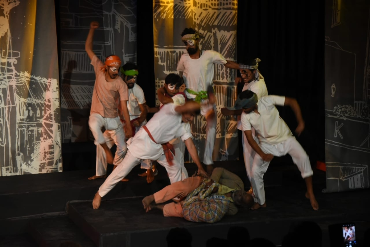A scene from a  play Zindagi aur Jonk, being staged at Bharat Bhavan in the city on Monday evening.
