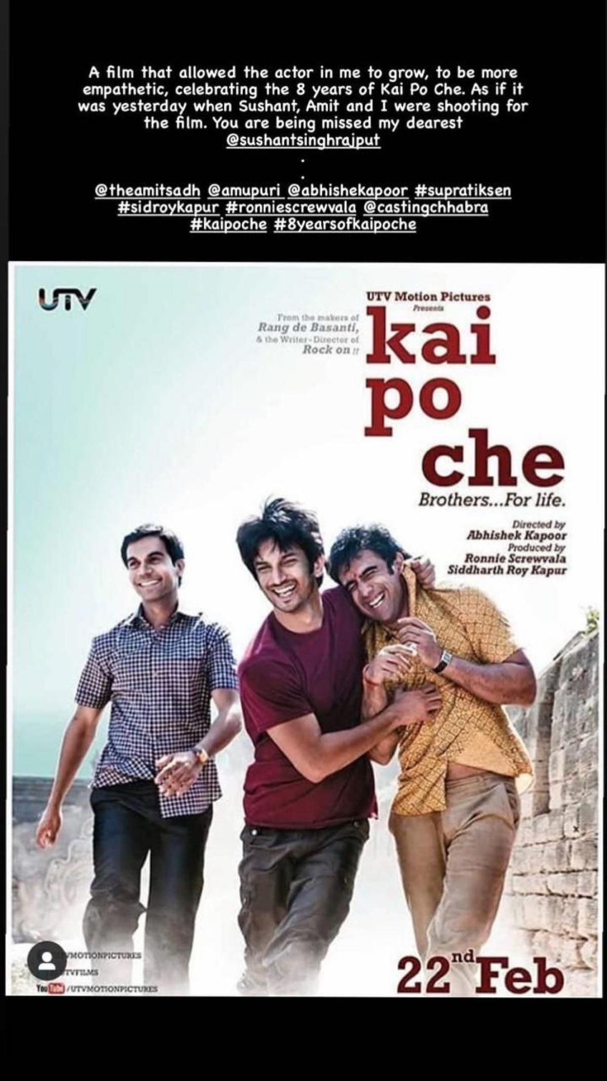 Rajkummar Rao pens emotional note remembering Sushant Singh Rajput as 'Kai Po Che' turns 8