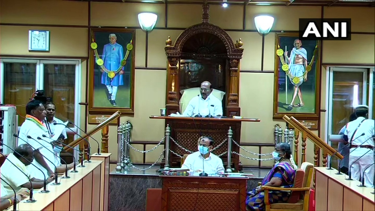 Puducherry Chief Minister V Narayanasamy speaking in Assembly on Monday