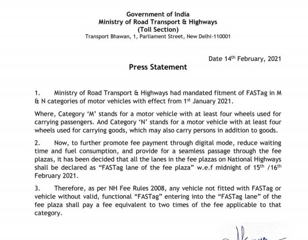 All lanes in fee plazas on National Highways to turn 'FASTag' from tomorrow midnight