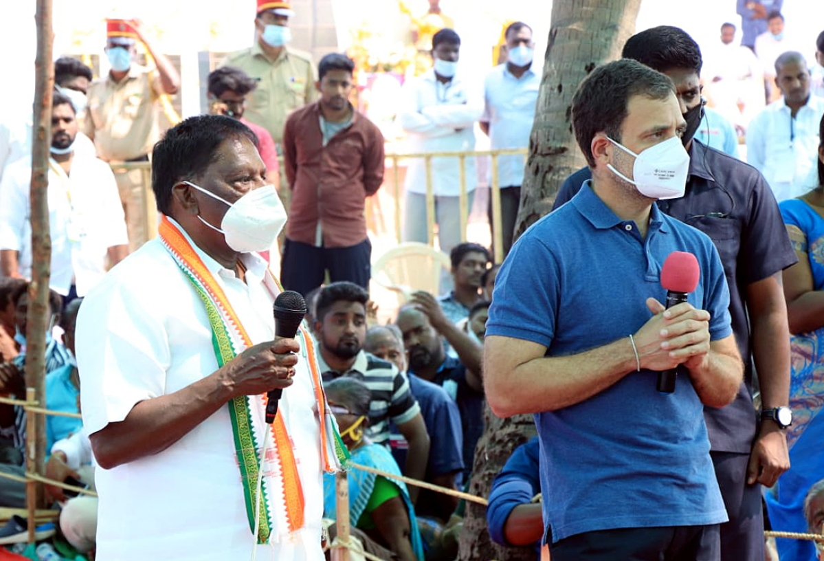 Lost in translation: Puducherry CM Narayanasamy translates complaint to self-praise during Rahul Gandhi's talks with fishermen