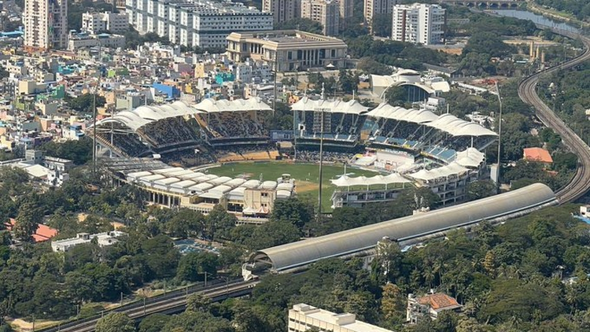 PM Modi tweeted an aerial view of the India vs England match being played at the MA Chidambaram Stadium in Chennai