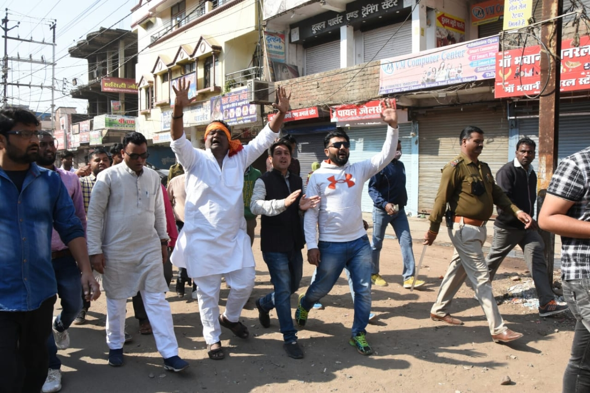 Congressmen forced people to keep their shops closed in Bhopal on Saturday