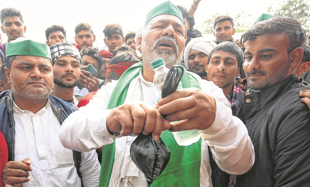 Farmers' leader Rakesh Tikait during an ongoing protest against new farm laws at Delhi-Ghazipur border in New Delhi on Monday.