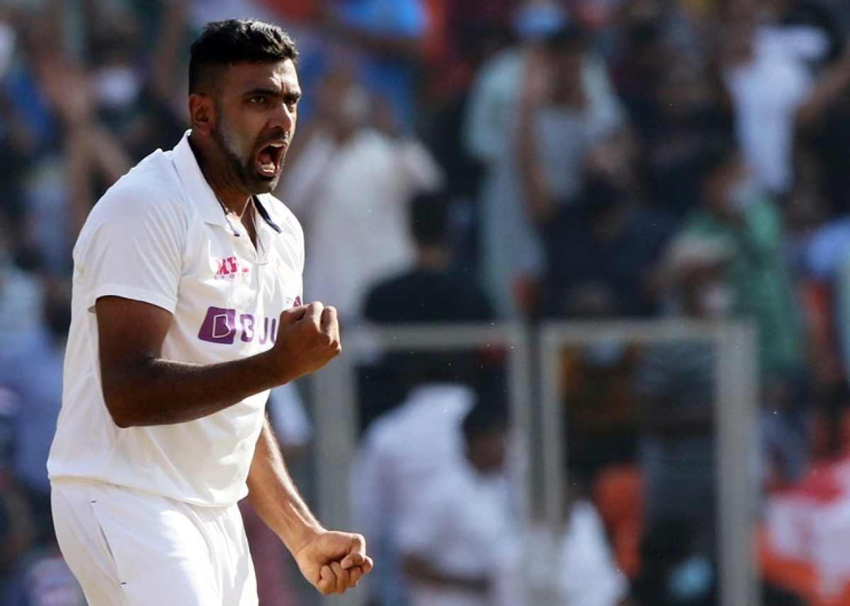 India's Ravichandran Ashwin celebrates the dismissal of England's Jack Leach during day one of the 3th Test Match in the series between India and England at Narendra Modi Stadium, Motera in Ahmedabad on Wednesday.