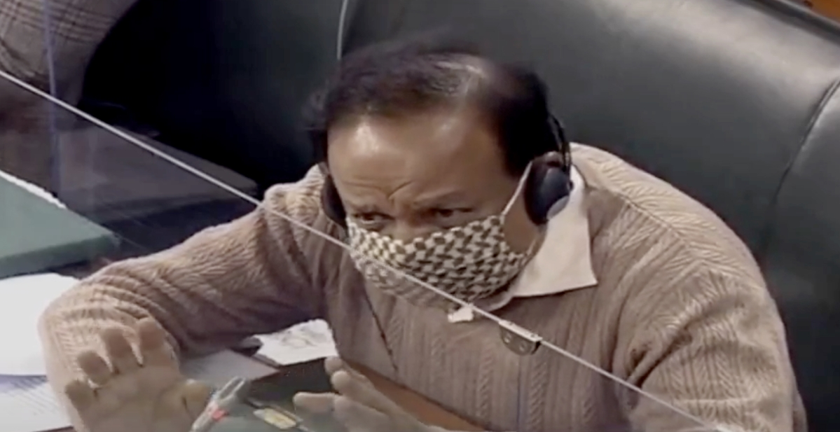 Union Minister Harsh Vardhan speaks in Lok Sabha during a ongoing Budget Session,  in New Delhi.