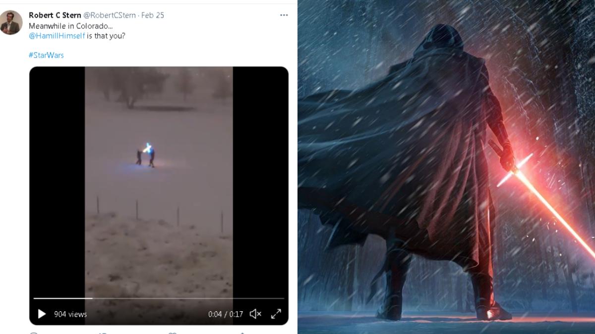 Fight like a true fan: Two Star Wars fans fight with lightsabers amidst heavy snow