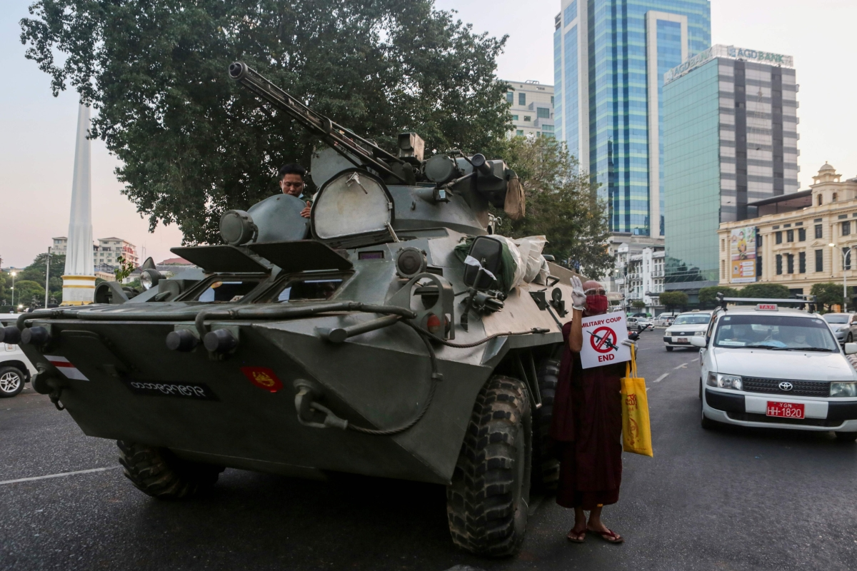 Myanmar security forces crack down on anti-coup protester