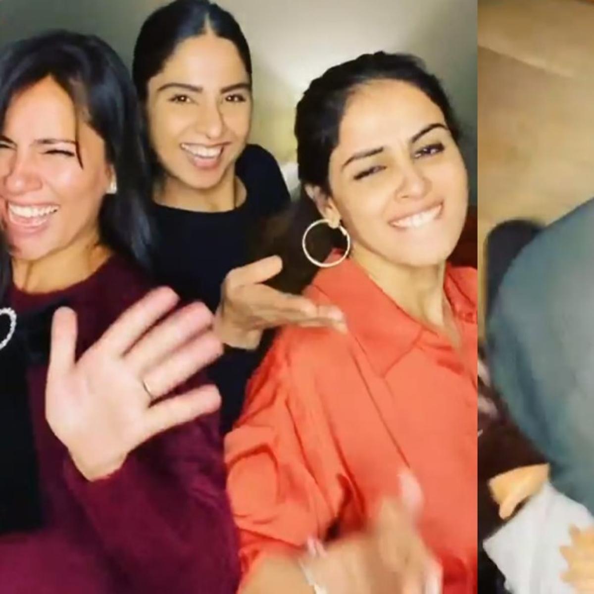 Watch: Genelia falls down while dancing on 'Zhingat' with husband Riteish Deshmukh