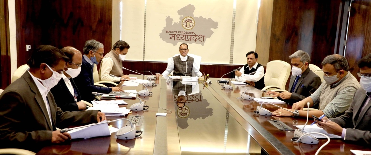 Chief Minister Shivraj Singh Chouhan holds a meeting with officials and ministers in Bhopal on Wednesday.