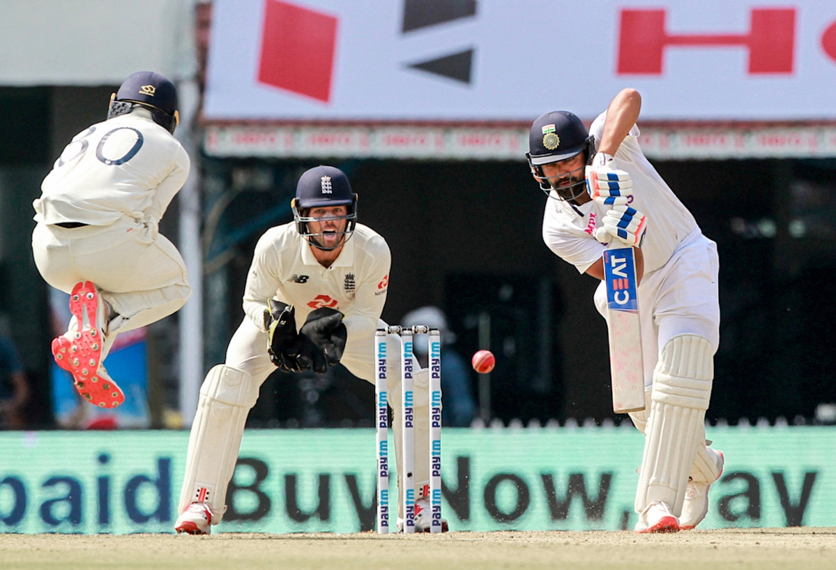 Rohit Sharma plays a shot during the 1st day of the second cricket test match between India and England, at M.A. Chidambaram Stadium, in Chennai, Saturday, Feb. 13, 2021