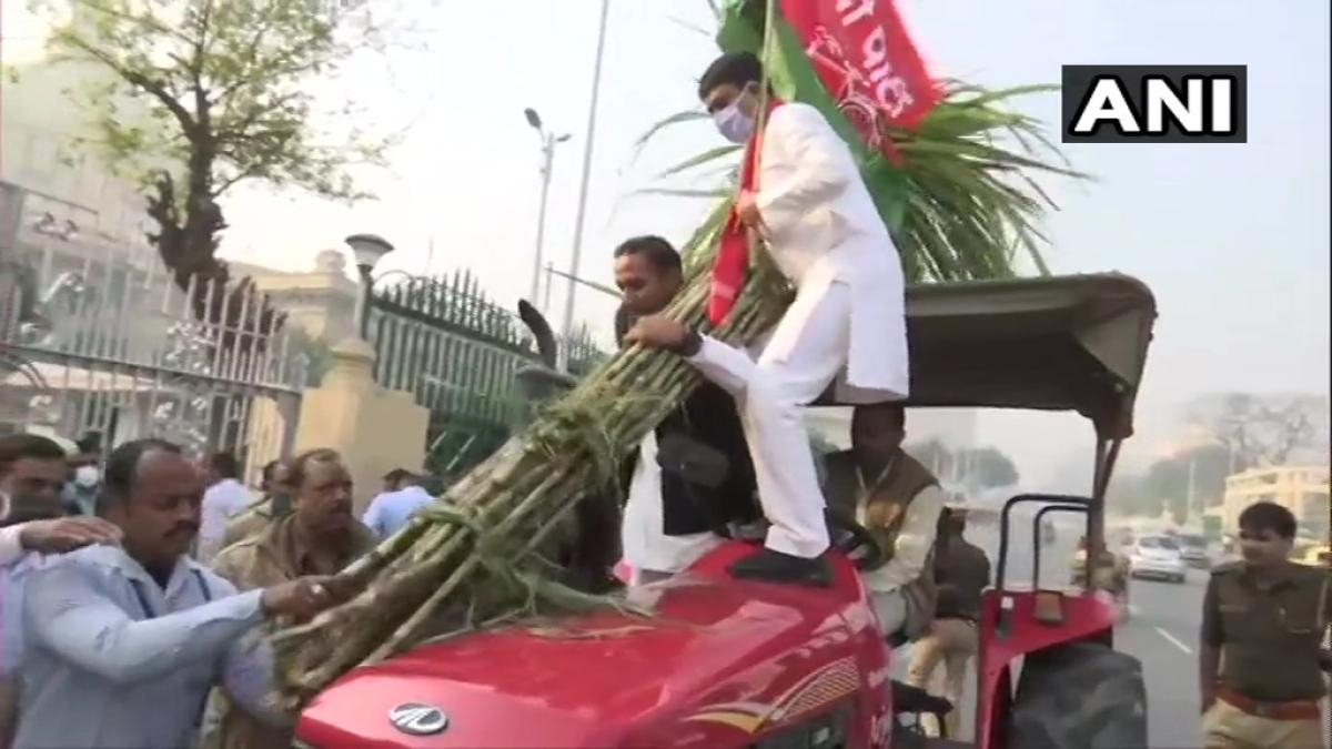 SP legislators reach Vidhan Bhawan on tractors to protest against Centre's farm laws.