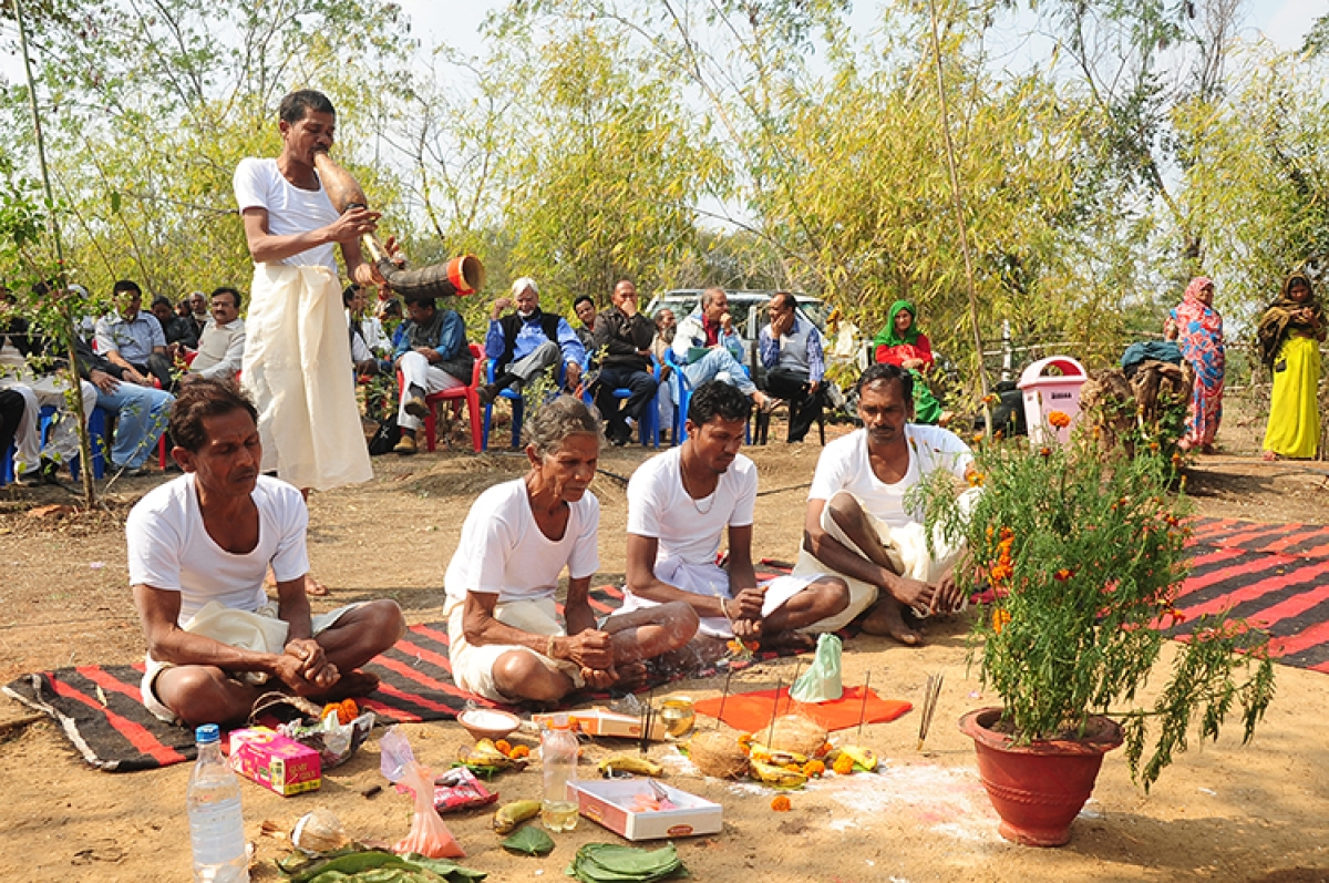 Villagers offer worship at Devrai