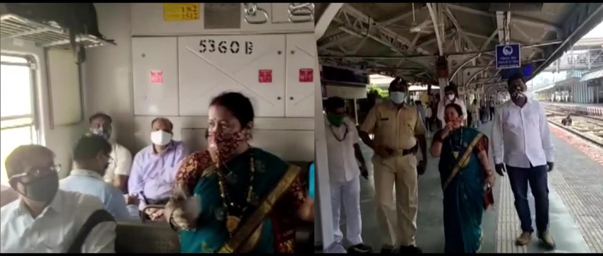 Mumbai: Mayor Kishori Pednekar takes a local train, urges commuters to wear masks