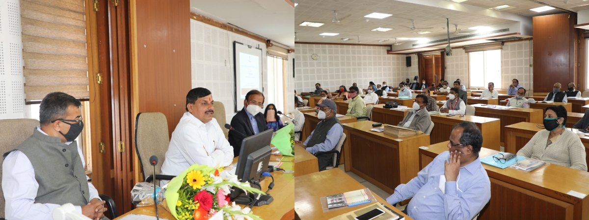 minister for higher education Mohan Yadav chairs a meeting at Barkatullah University