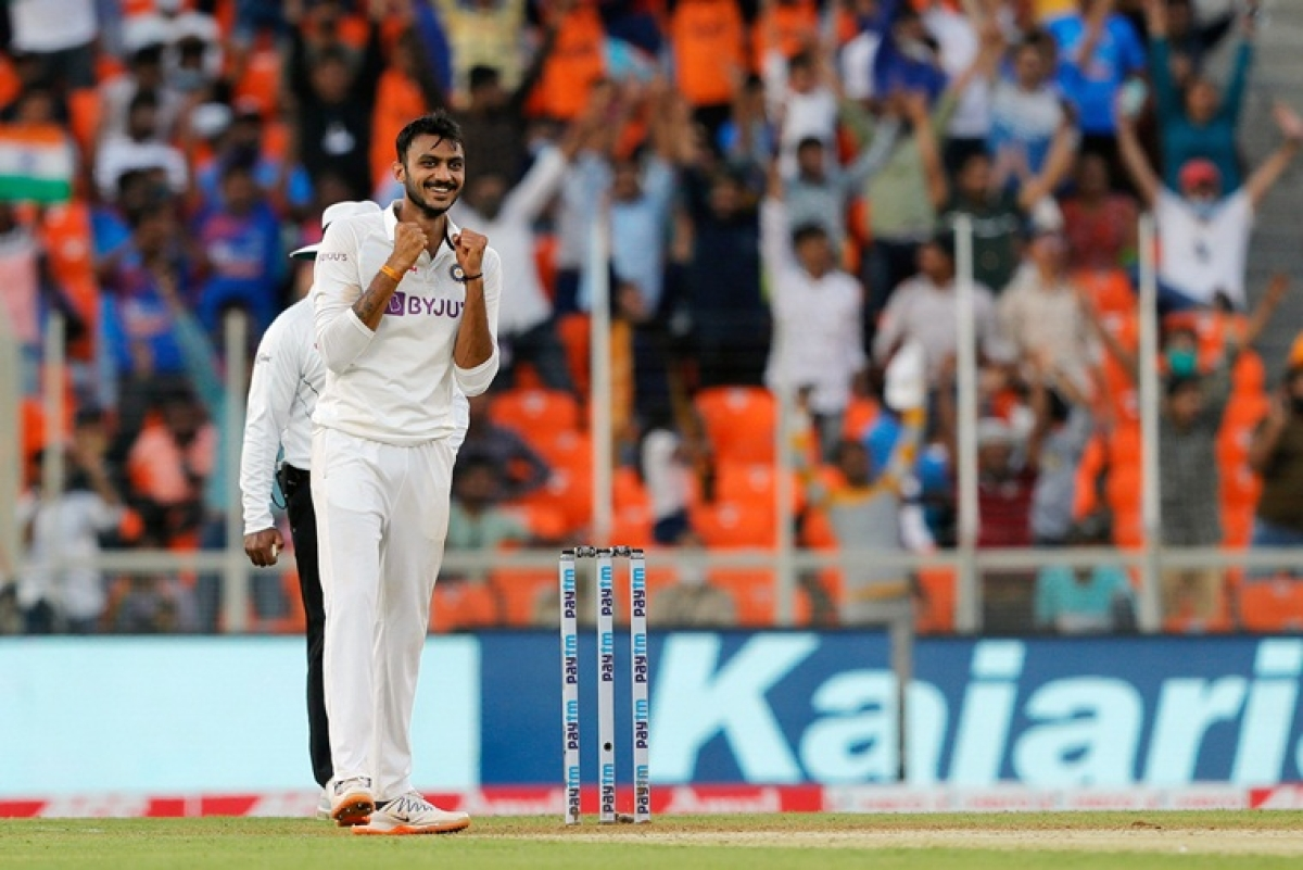 India's Axar Patel celebrates the dismissal during 2nd day of the 3rd Test Match in the series between India and England at Narendra Modi Stadium, Motera in Ahmedabad on Thursday