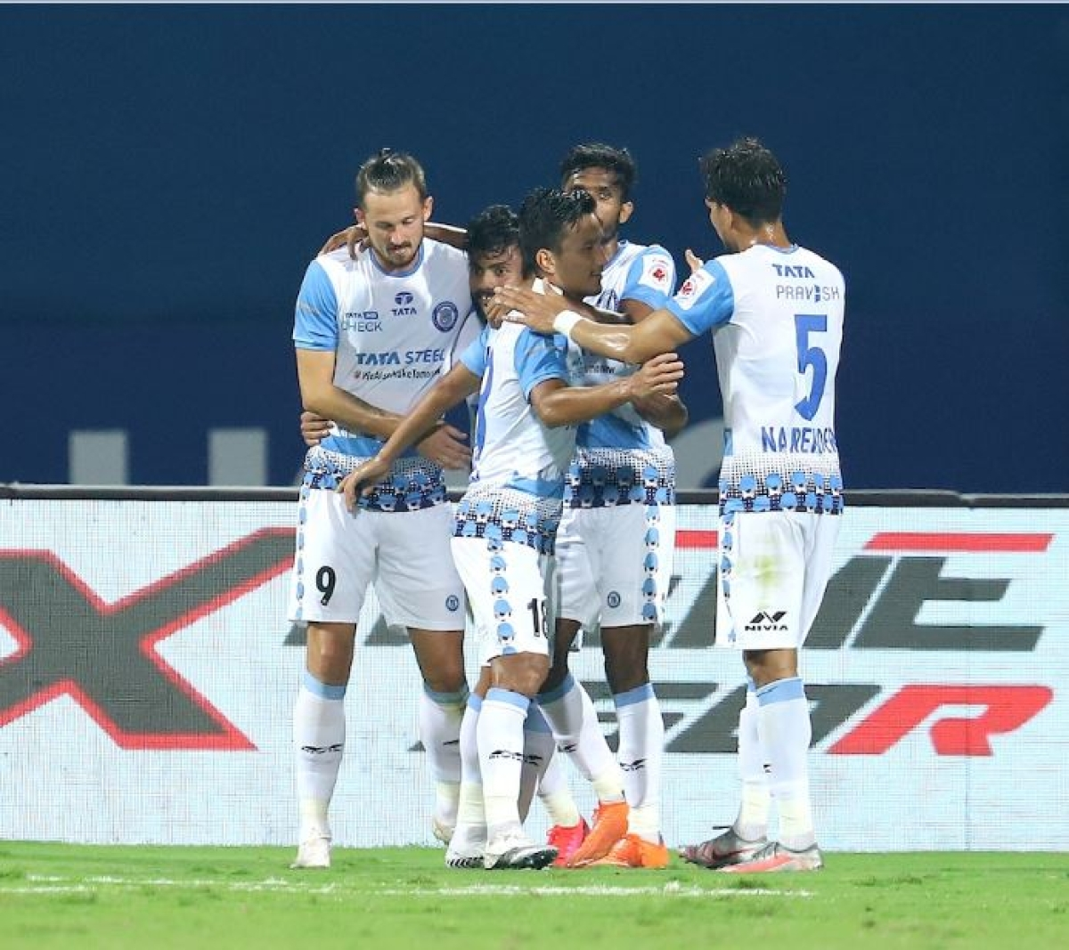 Jamshepur players celebrate after the match