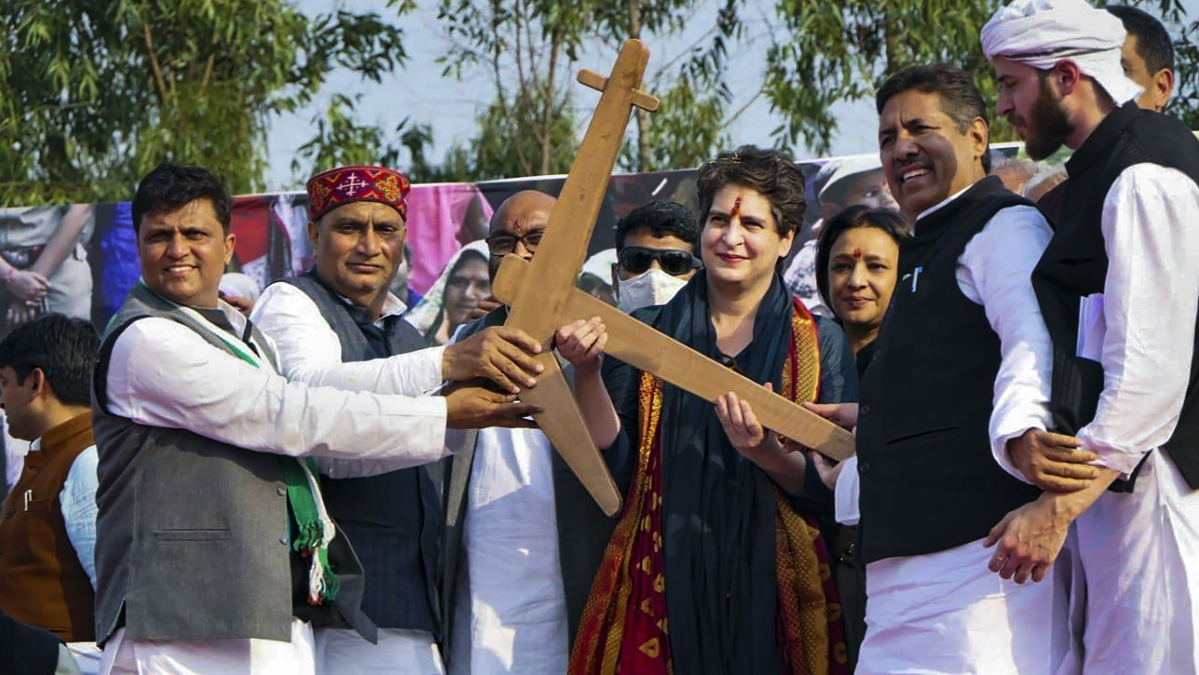 Saharanpur: Congress General Secretary Priyanka Gandhi Vadra during the Kisan Mahapanchayat at Chilkana in Saharanpur district, Wednesday, Feb. 10, 2021.