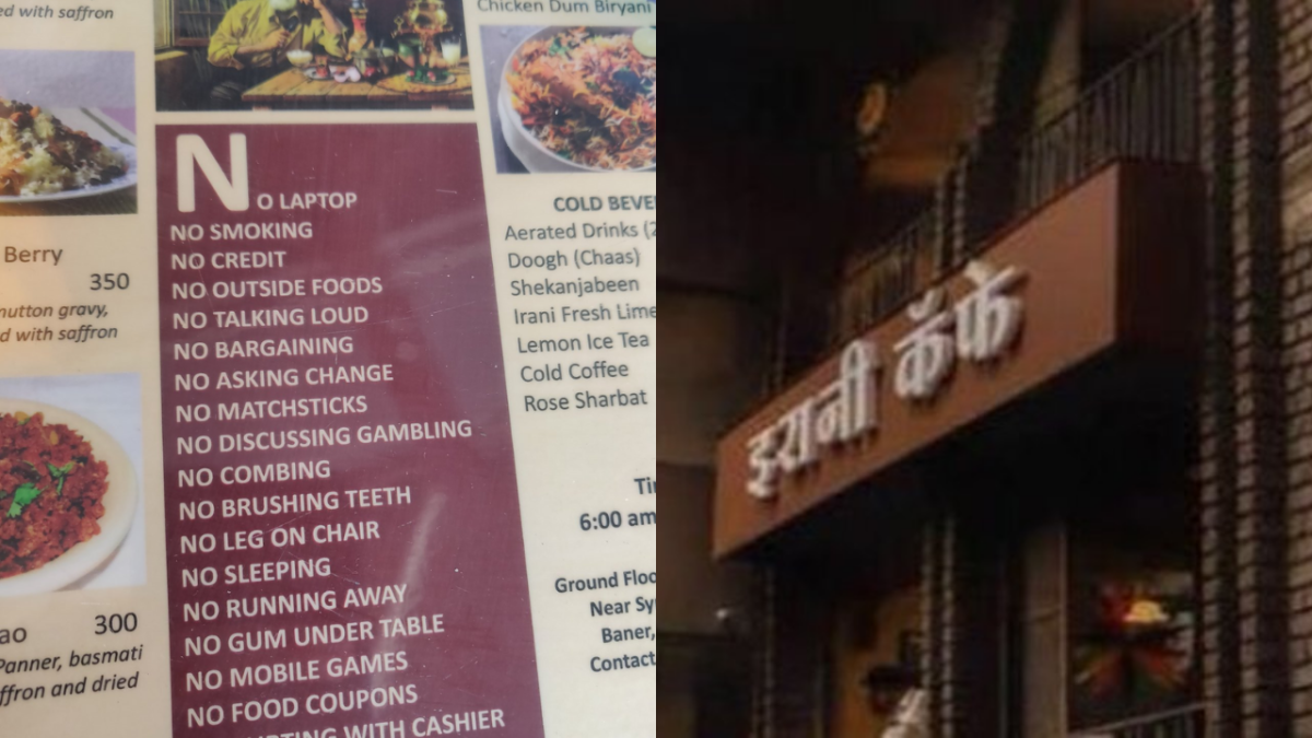 """""""No flirting with cashier"""": The dramatic menu from Pune's Irani Cafe"""
