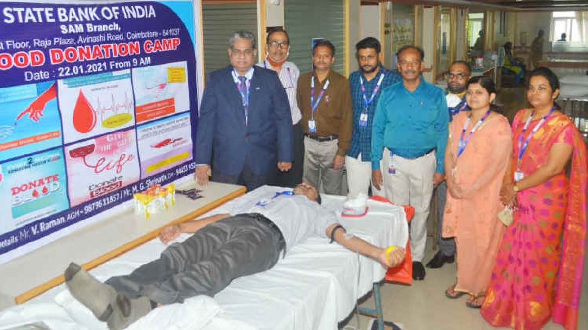 State Bank of India organises blood donation camp at SAM branch