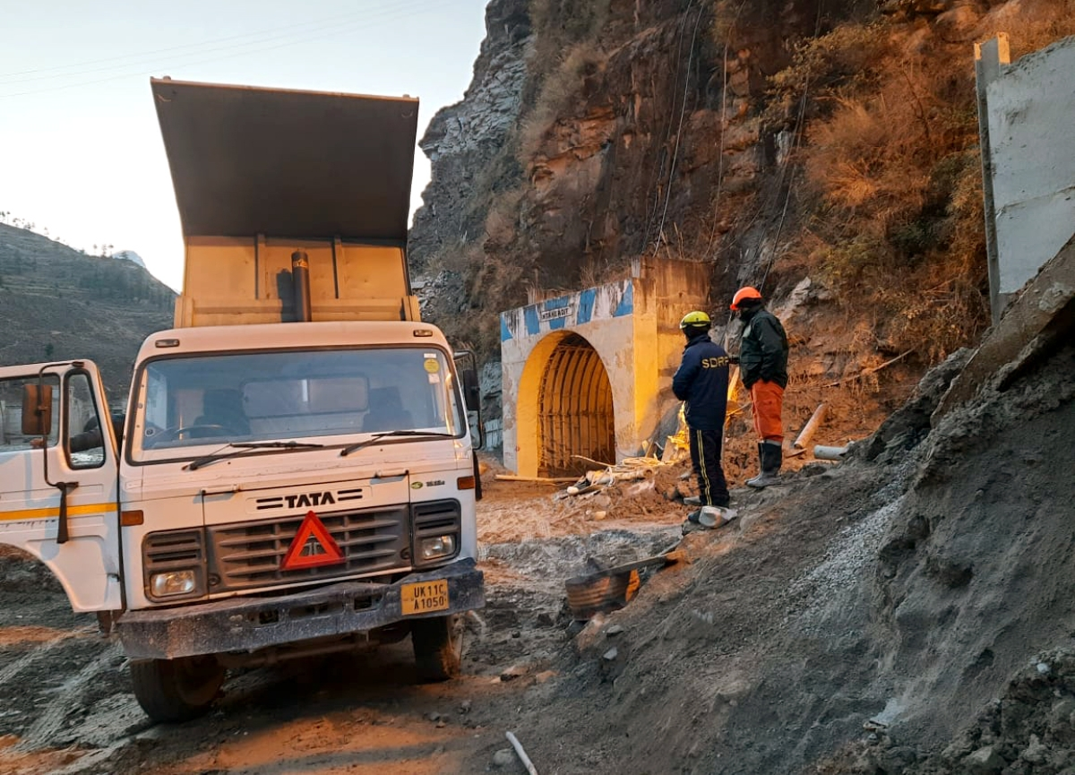 Rescue operation underway inside the Tapovan tunnel at Joshimath, in Chamoli on Saturday.