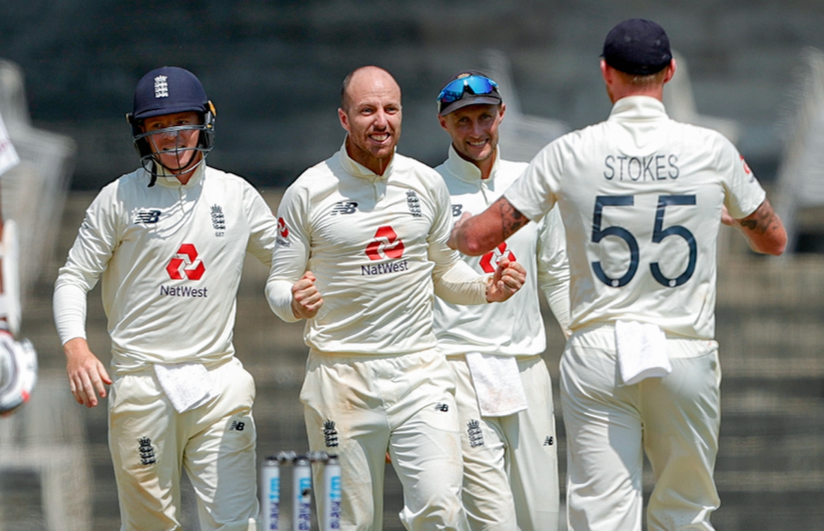 England bowler Jack Leach celebrates the dismissal of India's Ravichandran Ashwin during the 5th and final day of the first cricket test match between India and England, at MA Chidambaram Stadium, in Chennai, Tuesday, Feb. 9, 2021.