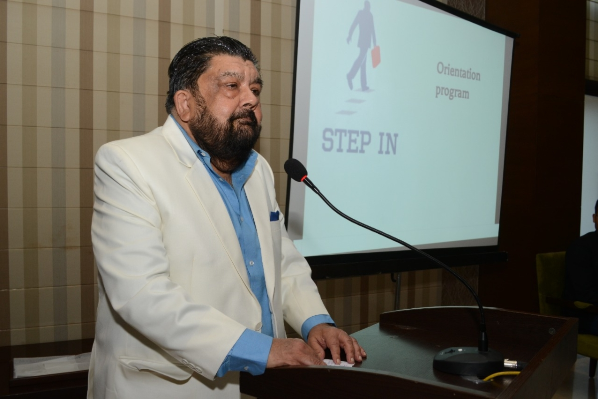 Daly College Society president Narendra Singh Jhabua addressing students on Friday