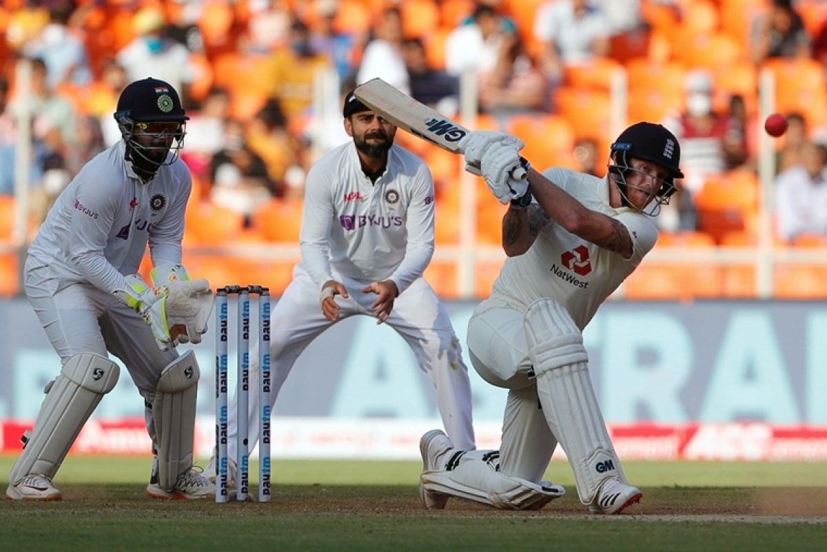 England's Ben Stokes during series between India and England at Narendra Modi Stadium, Motera in Ahmedabad