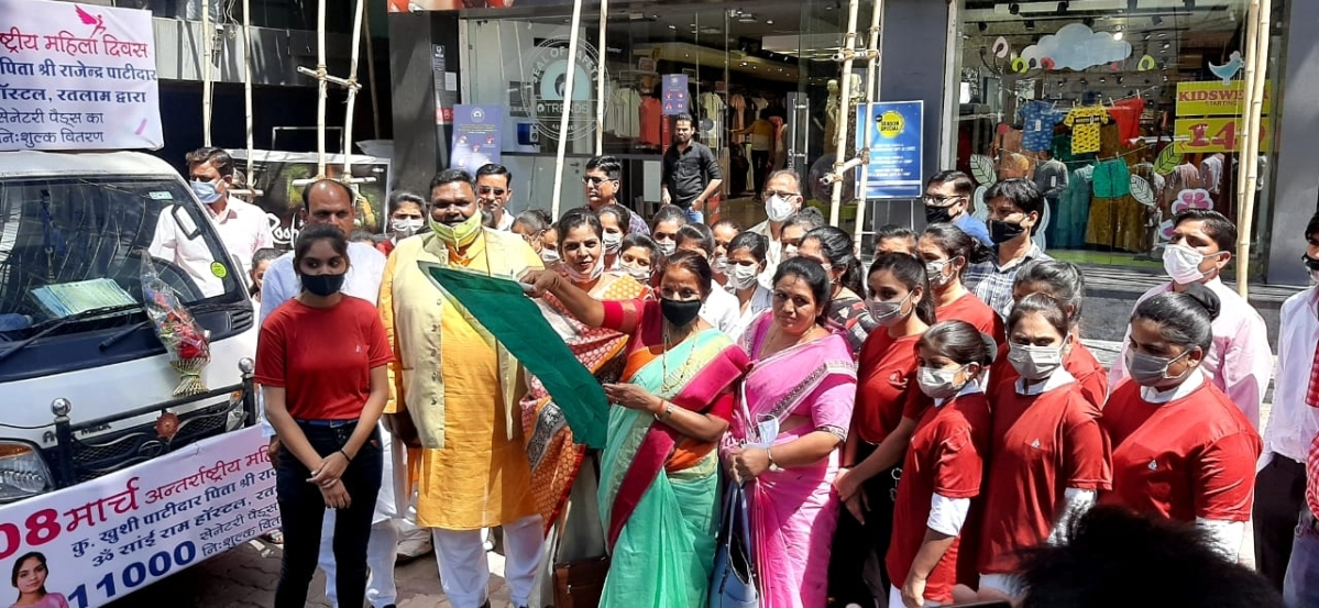 A mobile van to distribute sanitary pads was flagged off in Ratlam on Monday