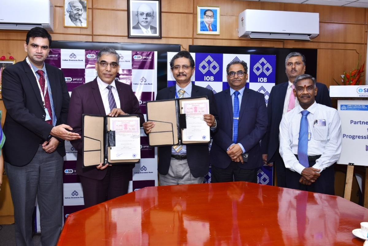 Indian Overseas Bank signs Corporate Agency Agreement with SBI General Insurance Co Ltd.