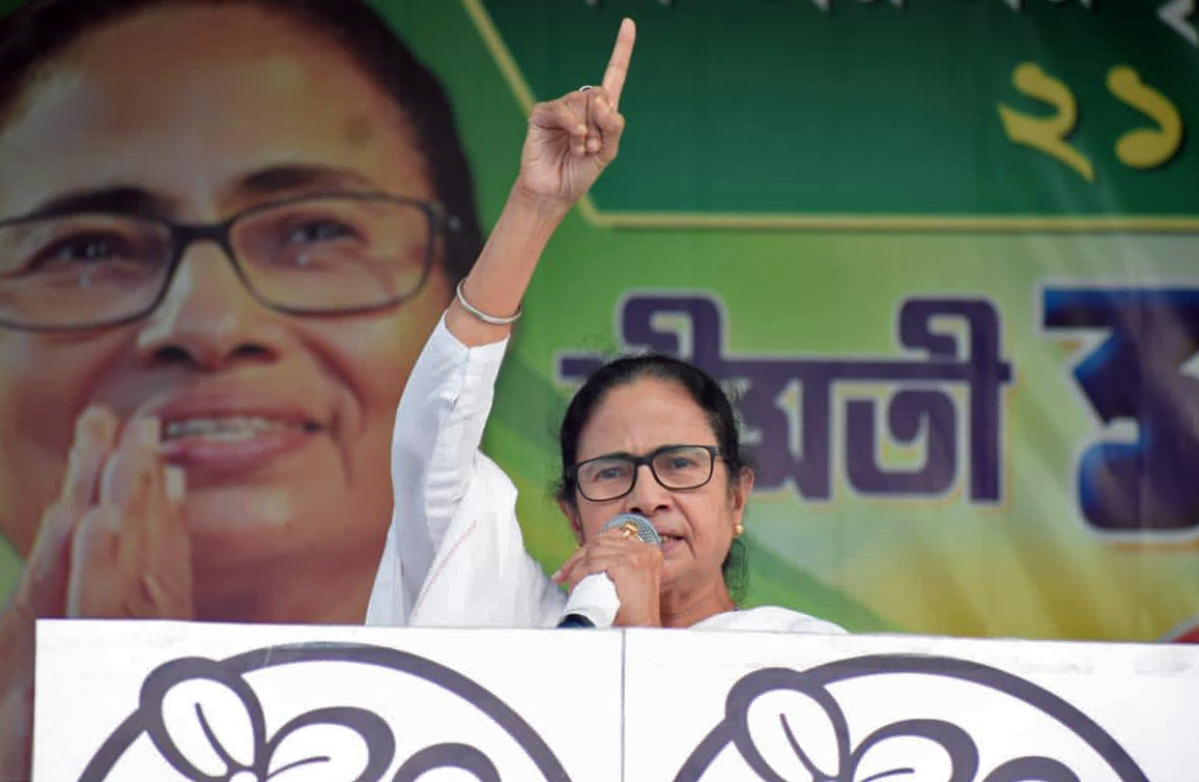 West Bengal, Mar 09 (ANI): Chief Minister Mamata Banerjee addresses at the rally, in Nandigram on Tuesday.