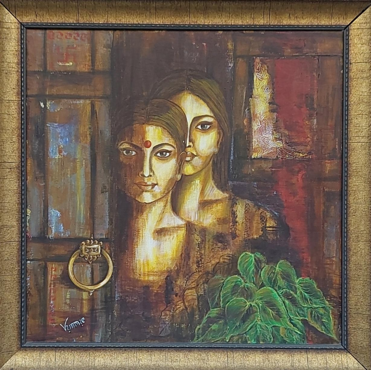 Mother and Daughter, a painting by Vimmie Manoj