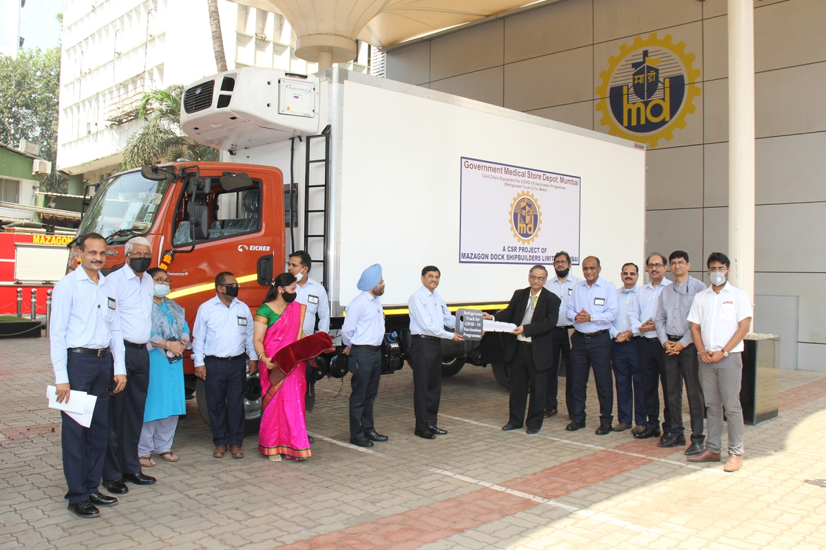 Mazagon Dock Shipbuilders gifts refrigerated truck to Govt Medical Stores Depot, Mumbai