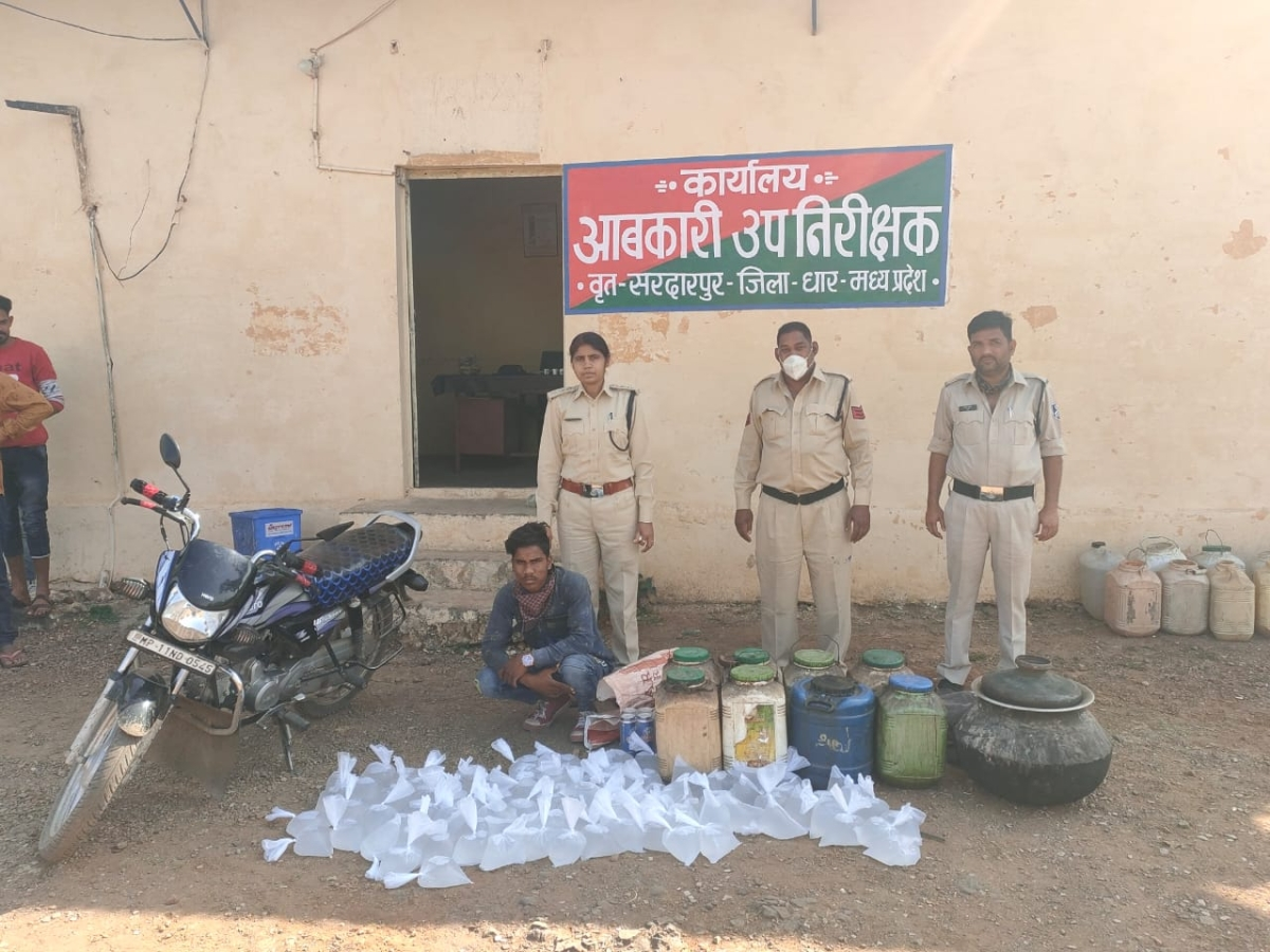 Dhar: Excise department seizes  hand-made liquor and motorcycle