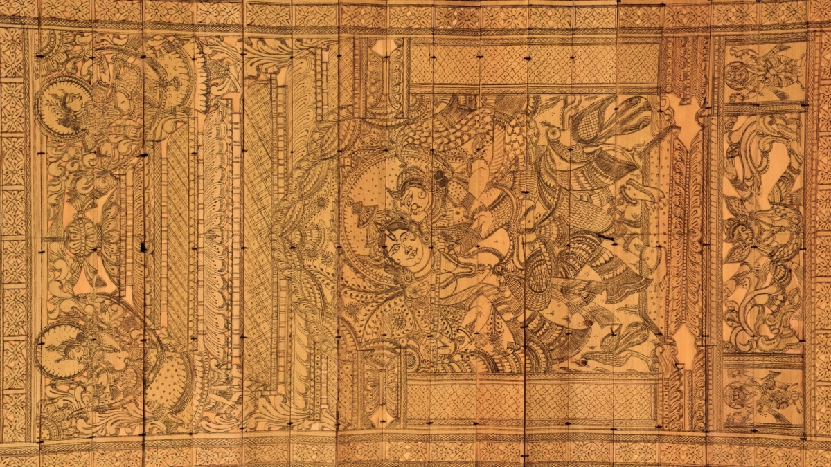 Bhopal: IGRMS exhibits Pattachitra- stitched palm leaves carved with fine black thread