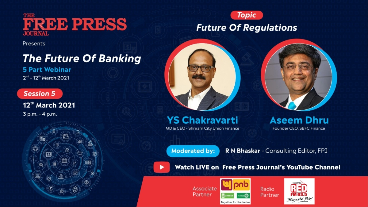 Watch: Shriram City Union Finance's YS Chakravarti and SBFC Finance's Aseem Dhru will talk at 'The Future of Banking' webinar series