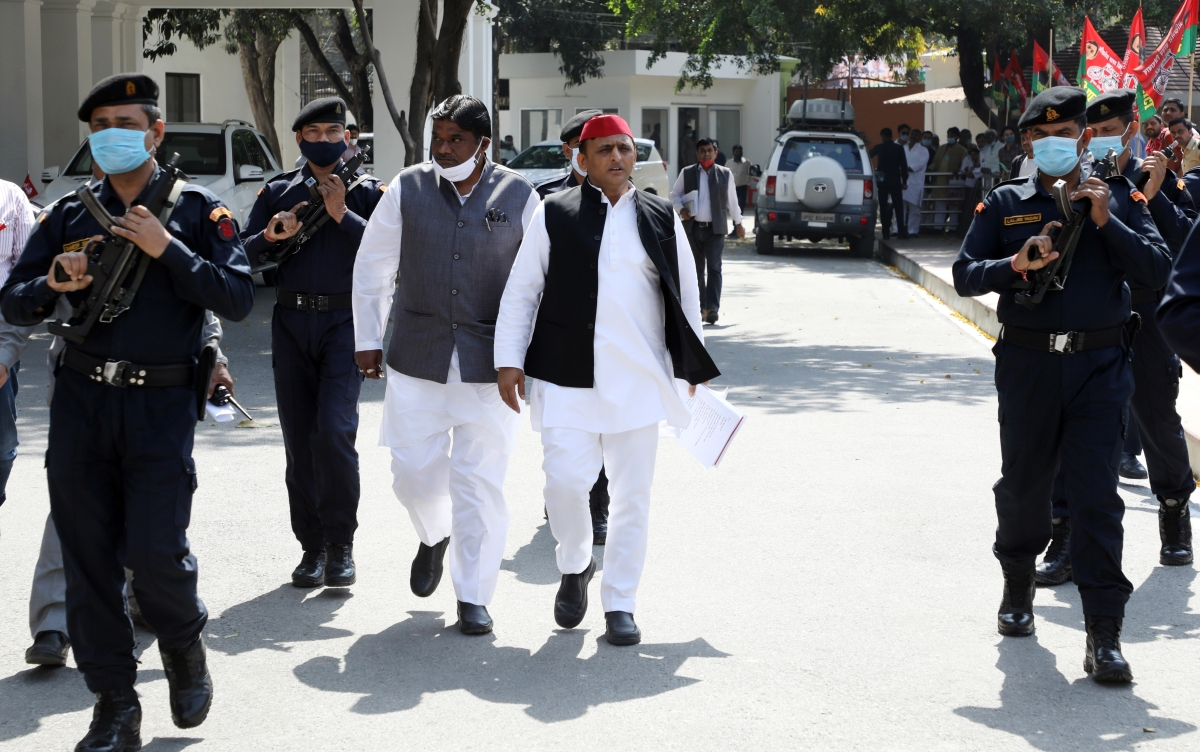 Uttar Pradesh, Mar 02 (ANI): Samajwadi Party national president Akhilesh Yadav during a press conference at the party office, in Lucknow on Tuesday.